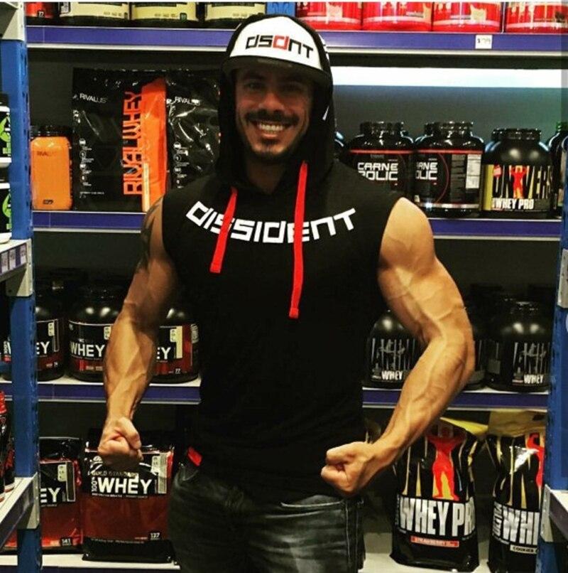 Image 4 - Muscle men Brand Gyms Clothing Fitness Men Tank Top hooded Mens Bodybuilding Stringer Tanktop workout Singlet Sleeveless ShirtTank Tops   -