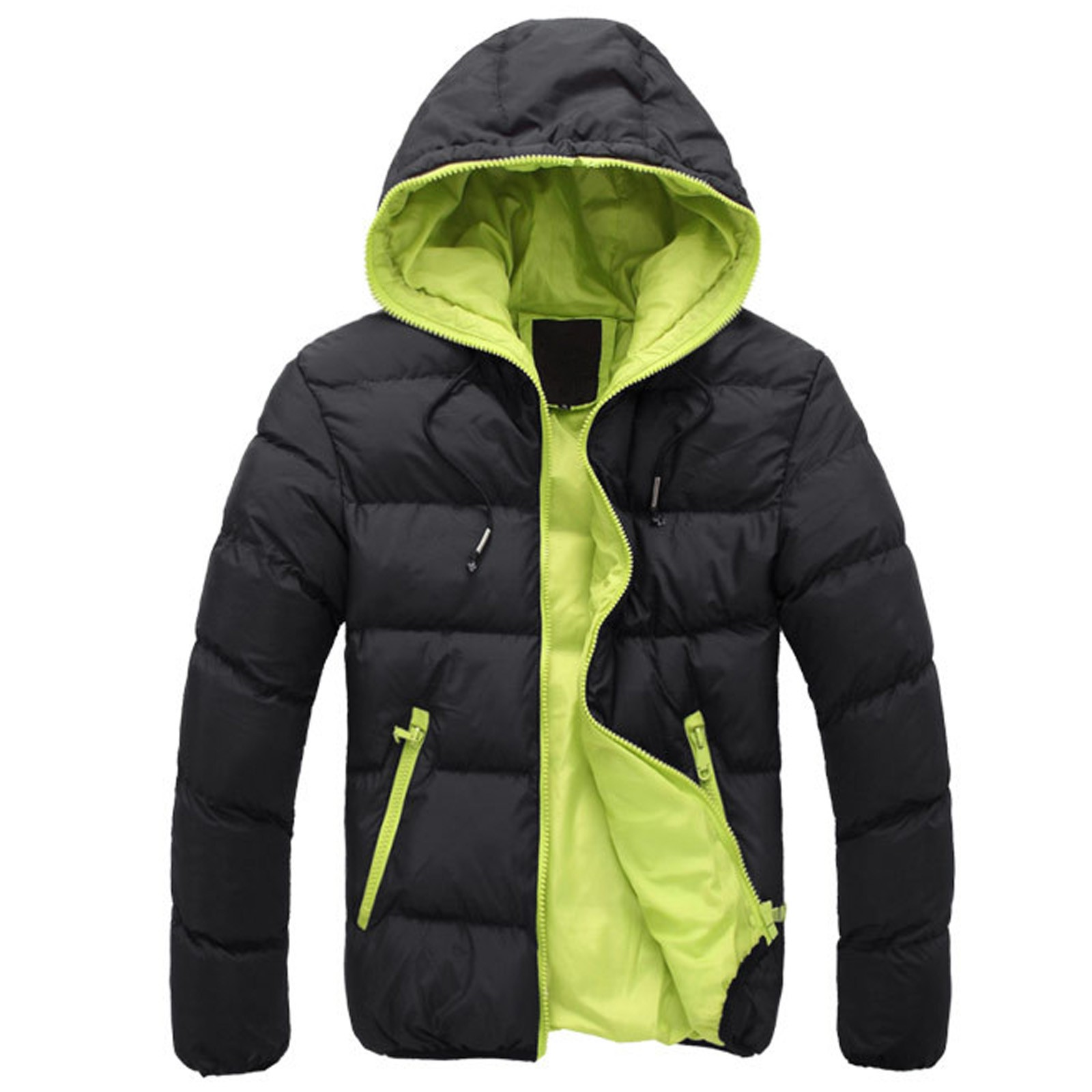 Jacket Hoodie Parkas Men Winter Coats Outwear Cotton-Padded Zipper Hip-Hop Male Solid