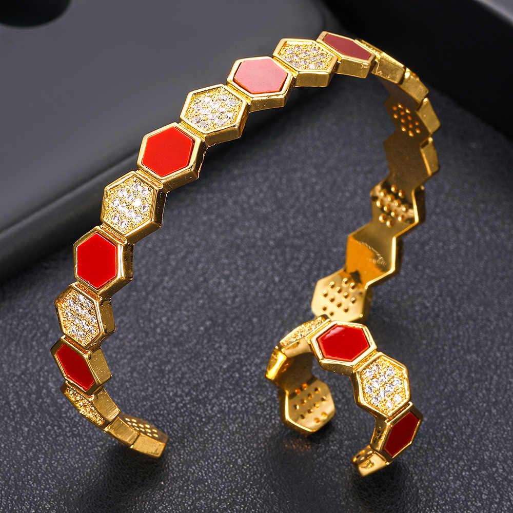Jankelly luxe arabie saoudite bracelet bague ensemble pour les femmes complet Micro cubique Zircon pavé fête mariage saoudien arabe dubaï bijoux Se