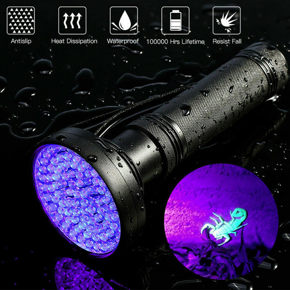 <font><b>LED</b></font> Flashlight <font><b>UV</b></font> lamp 100 <font><b>leds</b></font> Ultraviolet Blacklight Lamp Torch Inspection <font><b>UV</b></font> Light Outdoor Daily Use <font><b>395</b></font> <font><b>nm</b></font> image