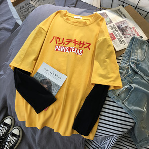 korean kawaii yellow T Shirt Women long Sleeve O Neck T-shirts autumn Tops Casual Tee Shirt letter printed Harajuku Woman Tshirt
