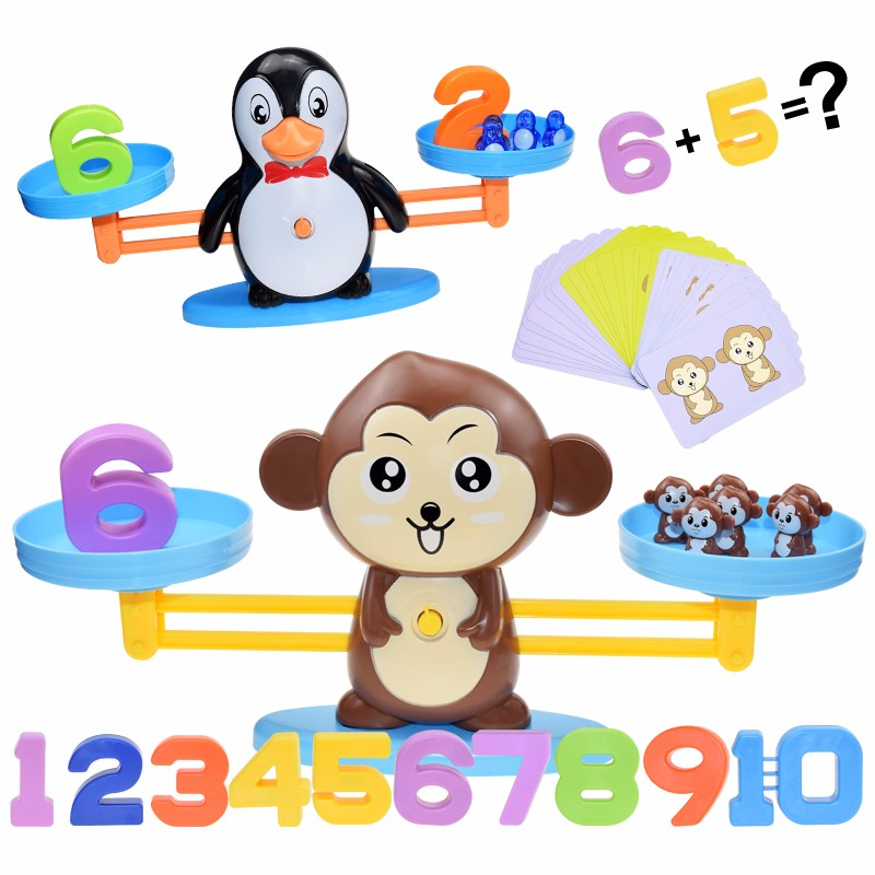 Montessori matemática brinquedo macaco digital balança de equilíbrio educacional matemática pinguim balanceamento escala número jogo de tabuleiro crianças aprendizagem brinquedos