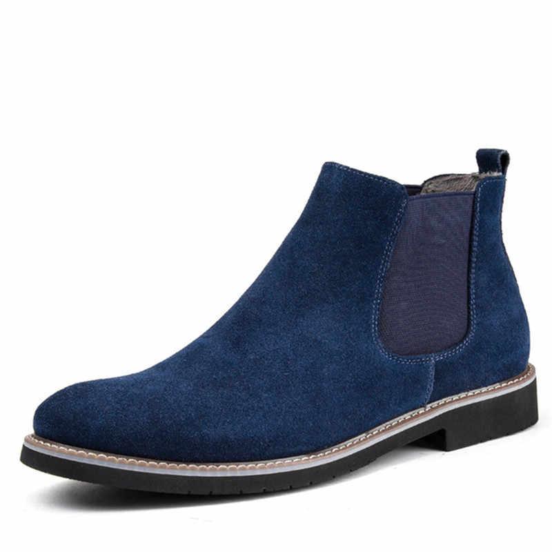 Moda gelgit çizmeler erkekler büyük boy erkek ayakkabı rahat sivri burun Chelsea çizmeler erkekler hakiki deri süet kayma büyük tasarım