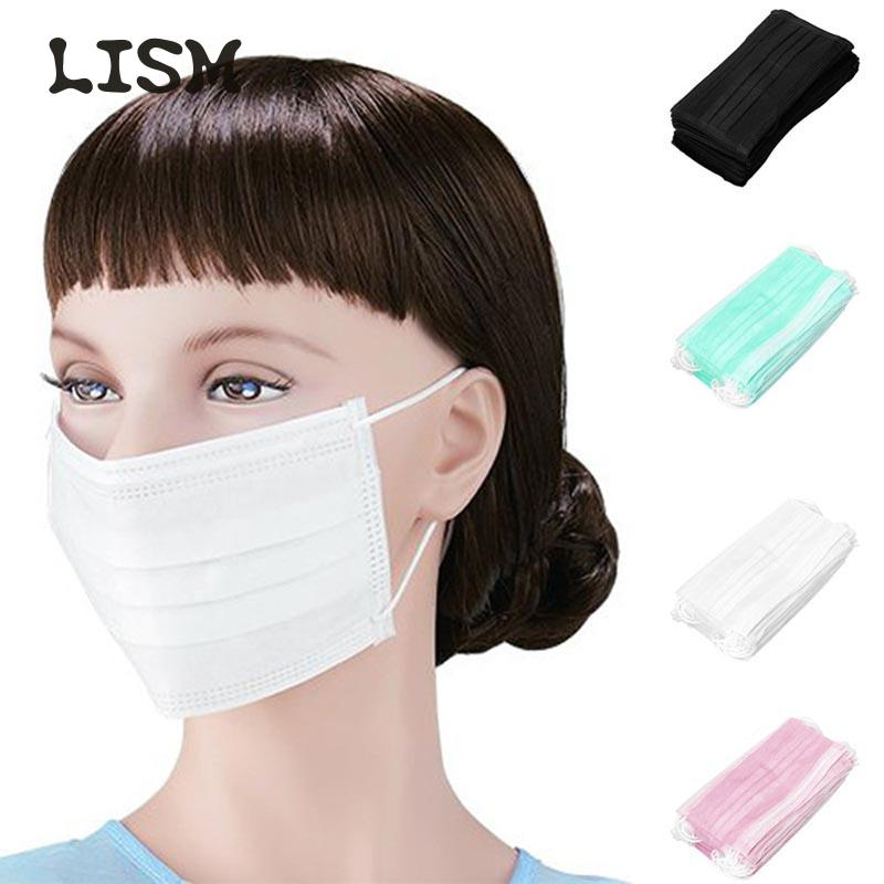50PCS Face Mouth Anti Virus Safety Mask Disposable Protect 3 Layers Filter Dustproof Earloop Non Woven Mouth Masks Wholesale
