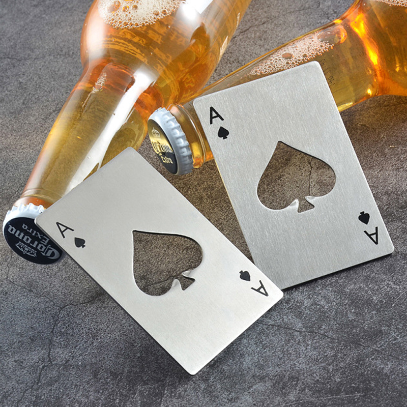 Spades A Credit Card Size Casino Opener Creative Poker Portable Stainless Steel Cap Can Bottle Opener Beer Bar Tool Accessories
