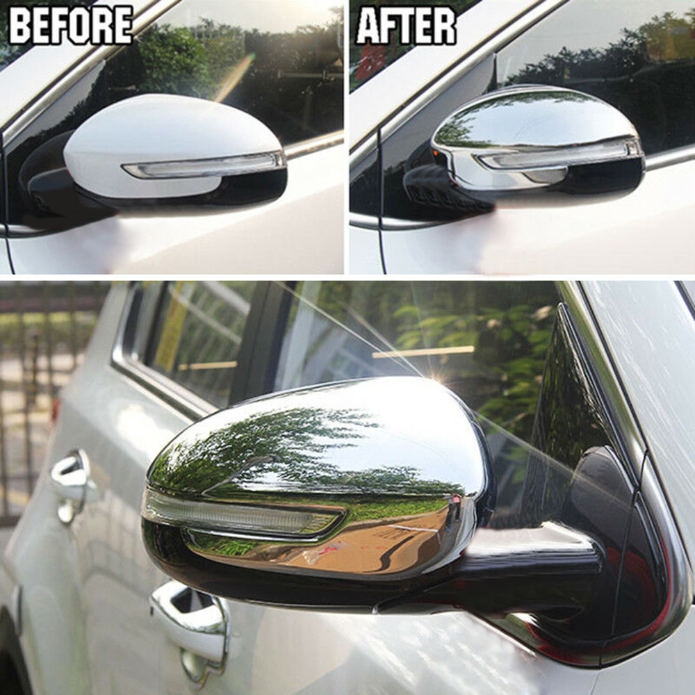 2x <font><b>Chrome</b></font> Door Side Rear-view <font><b>Mirror</b></font> Decor Stickers Cover For <font><b>Kia</b></font> Sportage 17-20 image