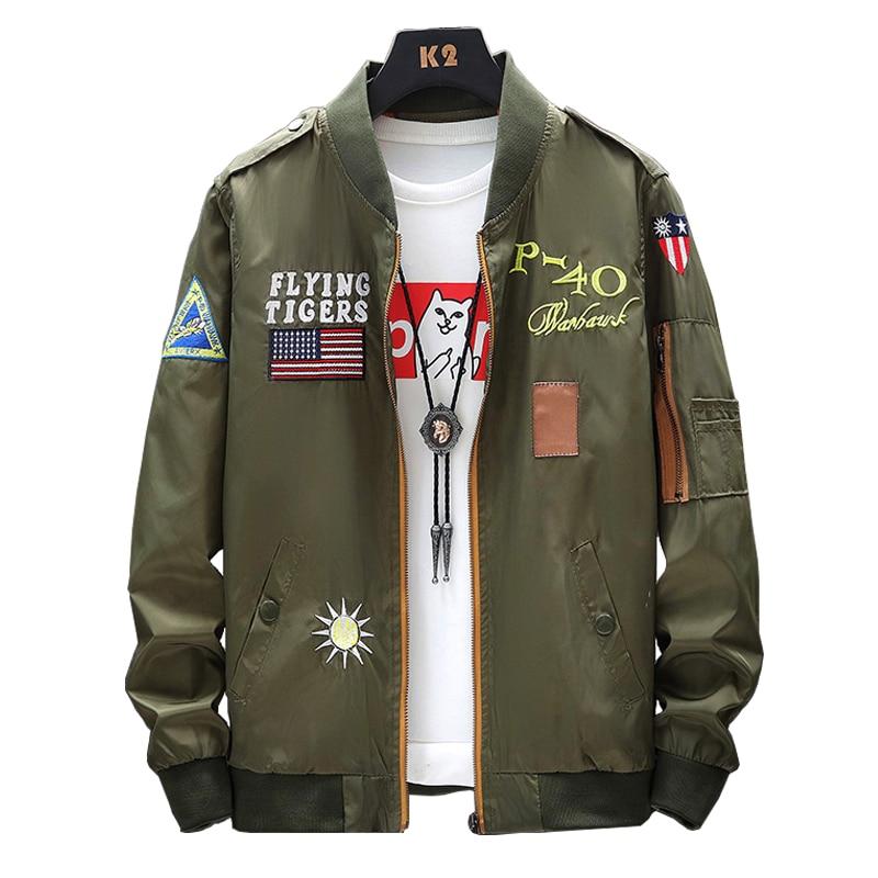 2020 Spring New Bomber Jacket Men Fashion Coats Men Printed Pattern Pilot Bomber Jacket Mens Baseball Jacket Tops Male Plus Size