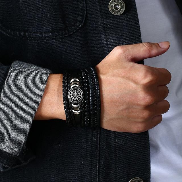 Vnox 4pcs/ set Adjustable Leather Bracelets for Men Braided PU Black Brown Bangle Life Tree Leaf Rudder Charm Bracelet Gift 2