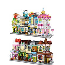 New Children's Building Blocks Toy 3d Fast Food Pizza Ice Cream Candy Shop Mini City Street View Shop Series Diy Compatible LG цена
