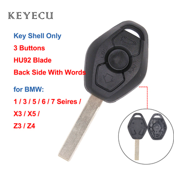 Keyecu Replacement Remote Key Shell Case for BMW Z3 Z4 X3 X5 E36 325i 3 5 7 525i 330i HU92 (Back Side with Words 315/433mhz) image
