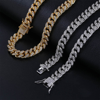 цена на 10mm Iced Out Cuban Chain Necklace Hip Hop Jewelry Choker Gold Silver Color Rhinestone Cz Clasp For Mens Rapper Necklaces Link