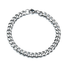 Stainless Steel Curb Cuban Link Chain Punk Golden Silver Black Bracelets Unisex Wrist Jewelry Holiday Gift
