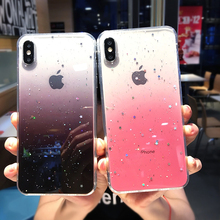 ottwn Gradient Colorful Bling Glitter Star Phone Cases For iphone 6 6S 7 8 Plus XS Max XR X Sequins Paillette Clear Soft Case
