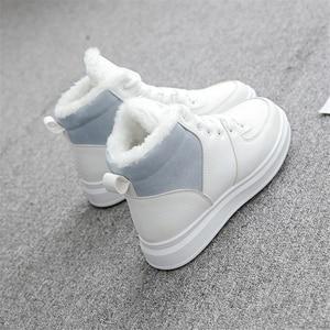 Image 5 - JIANBUDAN femmes décontracté hiver imperméable coton chaussures en peluche chaud plat bottes de neige mode fille blanc hiver coton bottes 35 40
