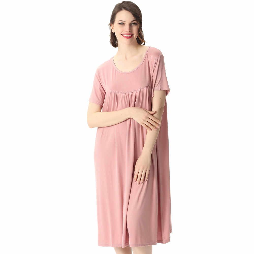 Fdfklak 2xl 6xl Plus Size Maternity Sleepwear Nightgown Summer Short Sleeve Pyjama Dress Large Loose Maternity Nightwear Sleep Lounge Aliexpress