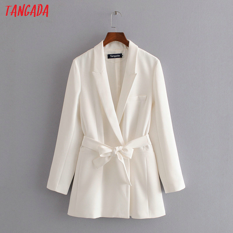 Tangada Women Vintage White Blazer With Slash Female Long Sleeve Elegant Jacket Ladies Work Wear Blazer Formal Suits 3H108