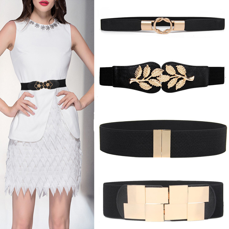 Wide Elastic Waist Belt Black Women Stretch Waistband Dress Wide Belt Corset Waistbands Fashion Gold Leaf Metal Buckle For Skrit