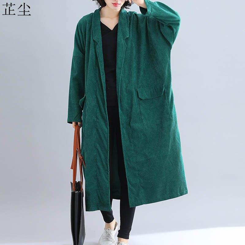 Plus Size 4XL 5XL 6XL Corduroy Long Coat Women Jacket Oversized Loose Casual Vintage Long Cardigan Autumn Winter Outerwear 2019