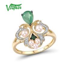 Gold Rings Emerald Pearl Fine-Jewelry Diamond Engagement-Anniversary Yellow Women VISTOSO