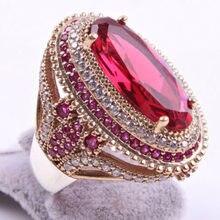 Lindo grande oval anel de pedra vermelha luxo preenchido cz casamento anéis para mulheres noivado moda jóias presentes anillos mujer