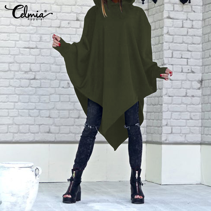 Celmia 2019 Fashion  Sleeve Hooded Women Vintage Hoodies Sweatshirts Casual Loose Solid Asymmetrical Pullovers Plus Size