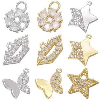 ZHUKOU złoty/srebrny kolor gwiazda/motyl/wargi kolczyk wisiorek CZ kryształowe charms dla ręcznie robiona biżuteria DIY making akcesoria VD819