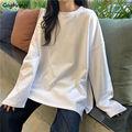 Langarm T-shirts Frauen Side-split Solide Einfache Herbst Casual Harajuku Ulzzang Koreanischen Stil Lose Alle-spiel Trendy oansatz Ins