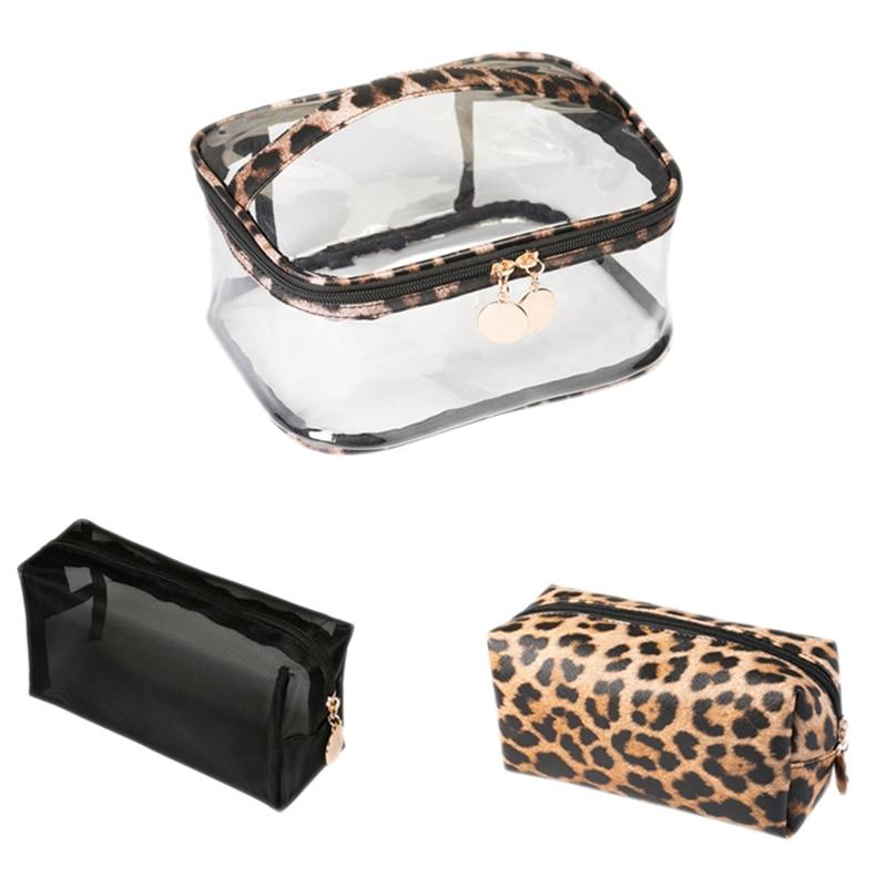 LJL-3Pcs Ladies Leopard PVC+PU Cosmetic Bag Travel Waterproof Beauty Makeup Toiletry Storage Case Lipsticks Holder Organizer Acc