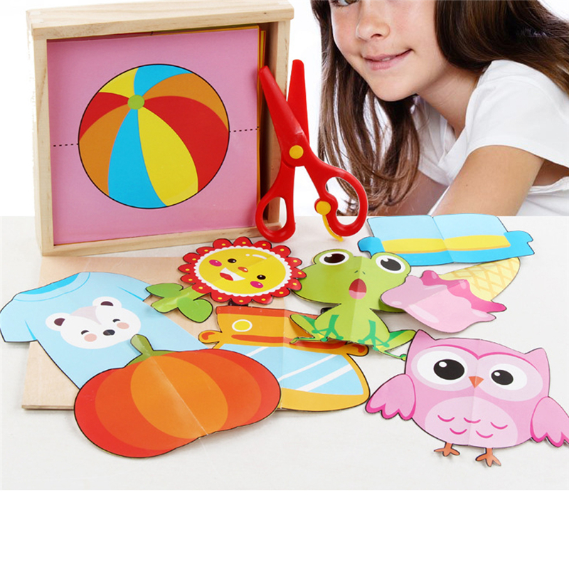 Children's Handmade DIY Materials Kids Color Paper Cut Kindergarten Early Education Safety Crafts Origami Toy Set With Scissors