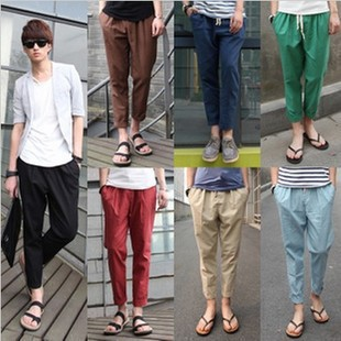 2017 Large Cargo Main Push Men Summer Hot Selling Casual Pants Cotton Linen Capri Pants Fashion K16p17