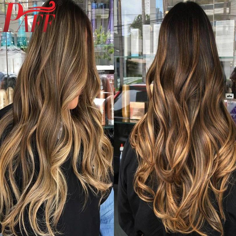 PAFF Silk Base European Hair Wavy Highlight Colored Blonde Human Hair Wigs 4x4 Silk Top 180% Density Remy Hair Wigs For Women