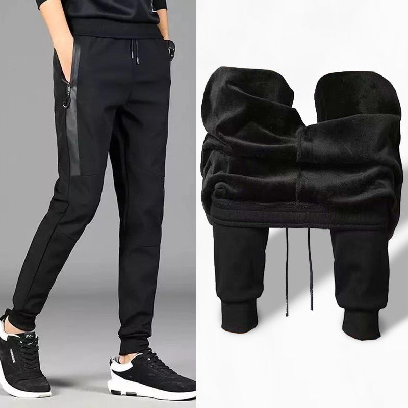 Mens Sweatpants Autumn Winter Male Velvet Gyms Fitness Elastic Joggers Workout Trousers Casual Cotton Man Soccer Running Pants