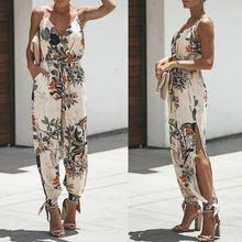 Sexy Women Leaf Print Deep V Spaghetti Strap Jumpsuit Backless Bandage Bodysuit