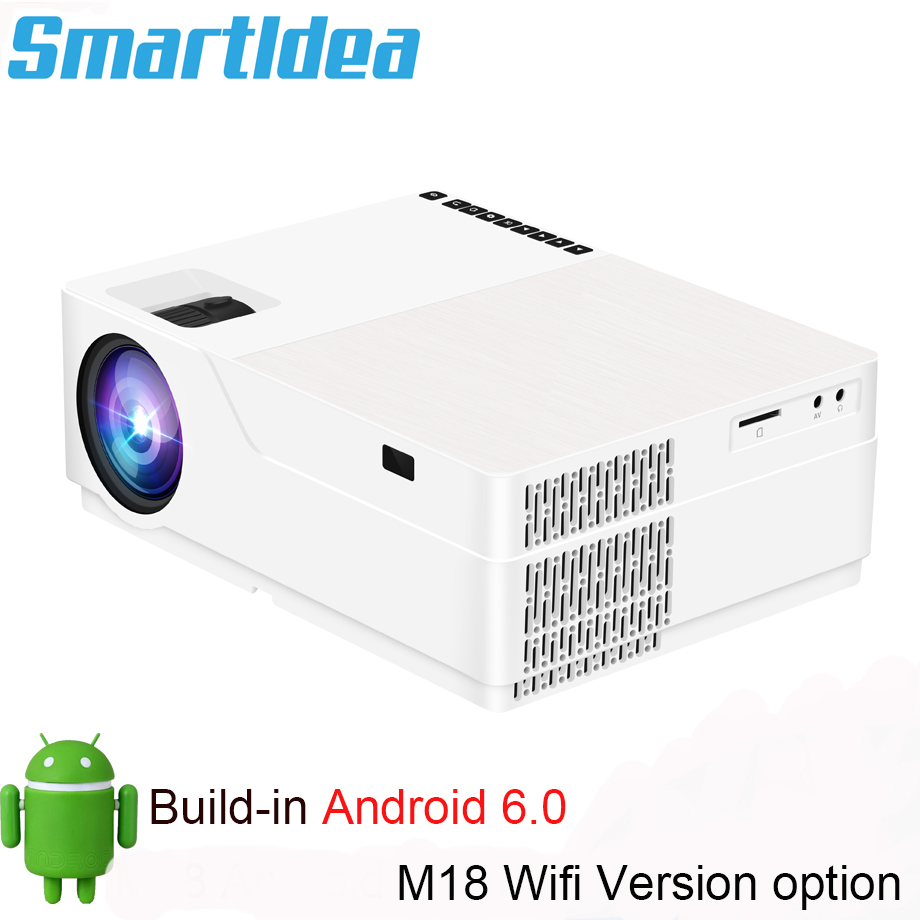 SmartIdea M18 Native 1920x1080 Full HD Projector LED 3D Home Cinema Proyector 5500lumens Android Video game LCD 1080P BeamerLCD Projectors   -