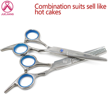 5.5 inch Hair Scissors Set Stainless Steel Cutting Thinning Styling Tool Salon Hairdressing Shears Regular Flat Teeth Blades