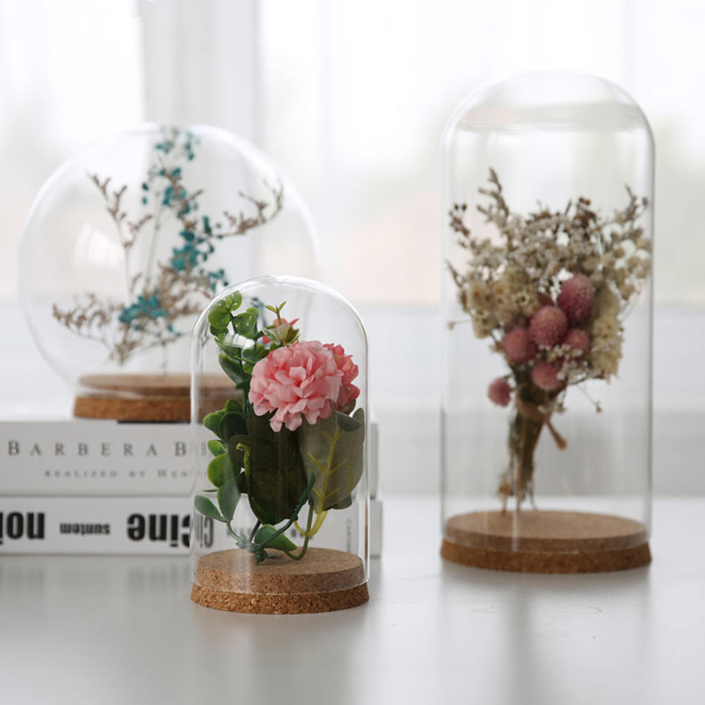 Glass Globe Display Dome Cover Exquisite Flower Vase With Wood Cork Home Decor Gift Elegant Ornaments 60*80cm Firm In Structure