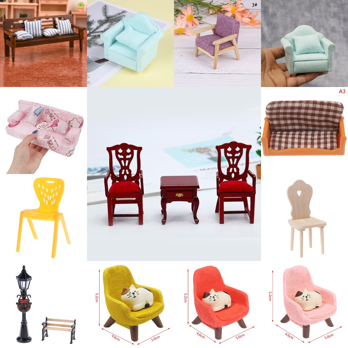 Hot Sale Chair Pillow Stool Sofa For Couch Bed Dollhouse Street Light Lamp Furniture Toys Doll House Decoration Accessories