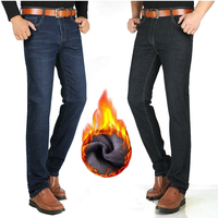 120 Cm Mens Jeans Winter Plus Velvet Jeans Tall Men's Trousers Stretch Straight High Long Length Pants Long Version Warm Casual