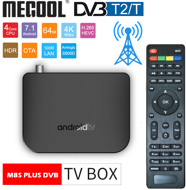 DVB-T2 Android 7.1 WiFi TV Box Amlogic S905D 1G ROM 8G RAM 2.4G 100M Support 4K H.265 DVB T2 Mini Thin M8S Plus DVB Media Player