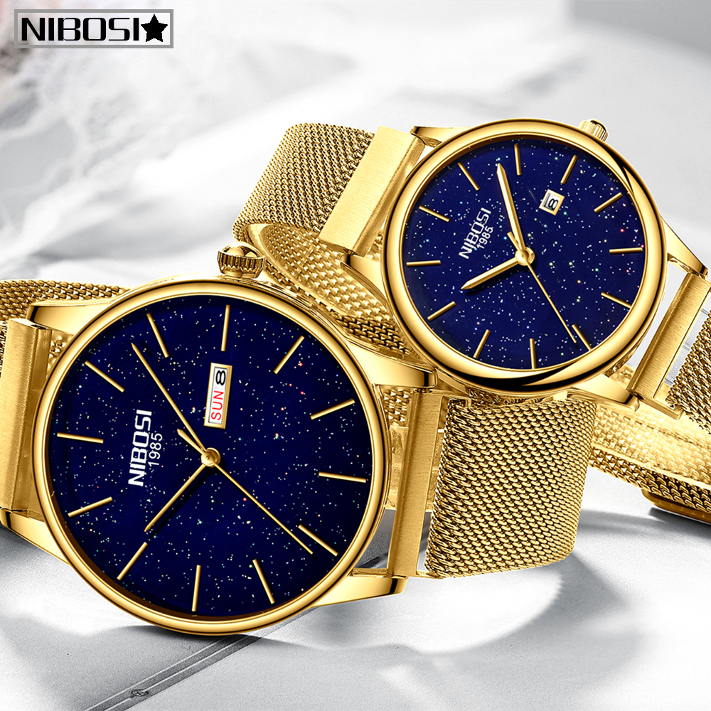 NIBOSI Couple Watch Relogio Feminino Waterproof Man And Woman Men Watches 2019 Luxury Brand Elegant Women's Watches Stainless