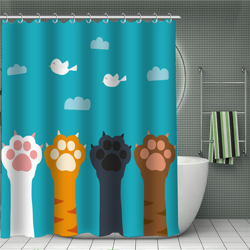 Занавески для душа с животным принтом кота из водонепроницаемой ткани, полиэстер, для ванной, хиппи, для дома, ванной комнаты, бохо, Декор
