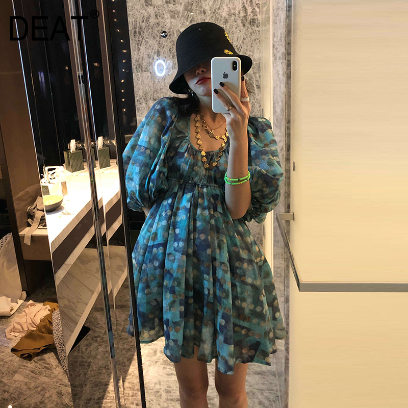 DEAT Women Fashion Design Summer Clothing Sqaure Collar Puff Sleeves Banage Green Printed High Waist Ruffles Dresses WL97706