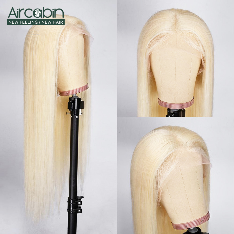 Aircabin 32 30 Inch Straight Lace Front Wigs 613 Blonde Color Brazilian Human Hair Lace Closur Wigs For Women Remy Hair Wigs image