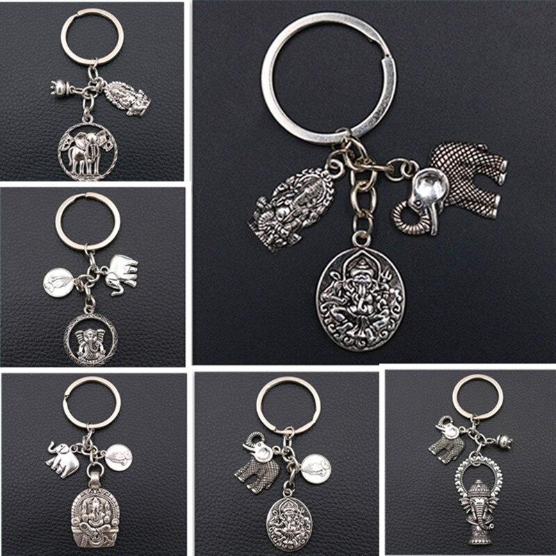 Elephant God *Ganesha* Creative Metal Keychain,God Of Wealth Charms, Good Luck Charms,Health Charms,Tibetan Silver A1532 1pcs