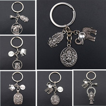 Elephant God *Ganesha* Creative Metal keychain,God of Wealth Charms, Good Luck Charms,Health Charms,Tibetan Silver A1532 1pcs
