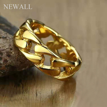 купить Newall Hip Hop Stainless Steel Cuban Link chain Ring Men Gold Silver Men kpop Jewelry 7mm male finger ring accessory wholesale дешево