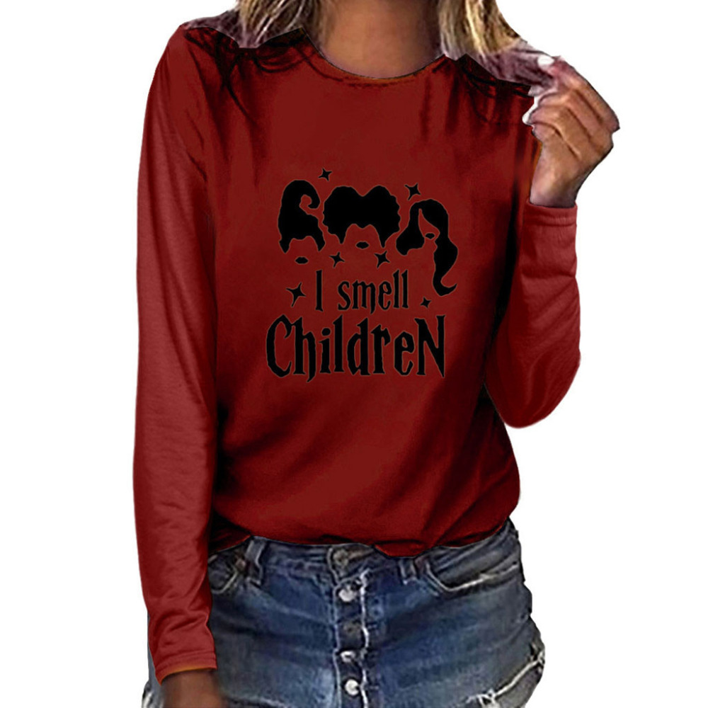 Women Fashion Plus Size Print Round Neck Long Sleeved T-shirt Tops Customized #4S23 (5)