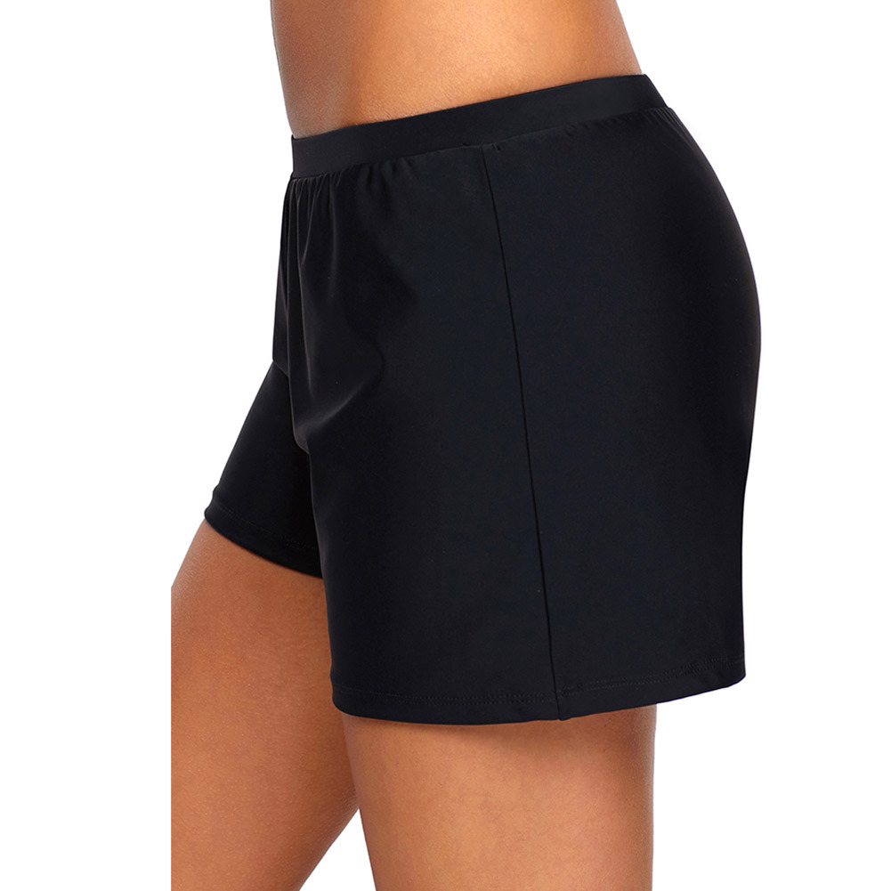 Black And White With Pattern High-waisted Swimming Trunks Loose-Fit Breathable Shorts Yoga Pants Four Corners Beach Swimming Tru