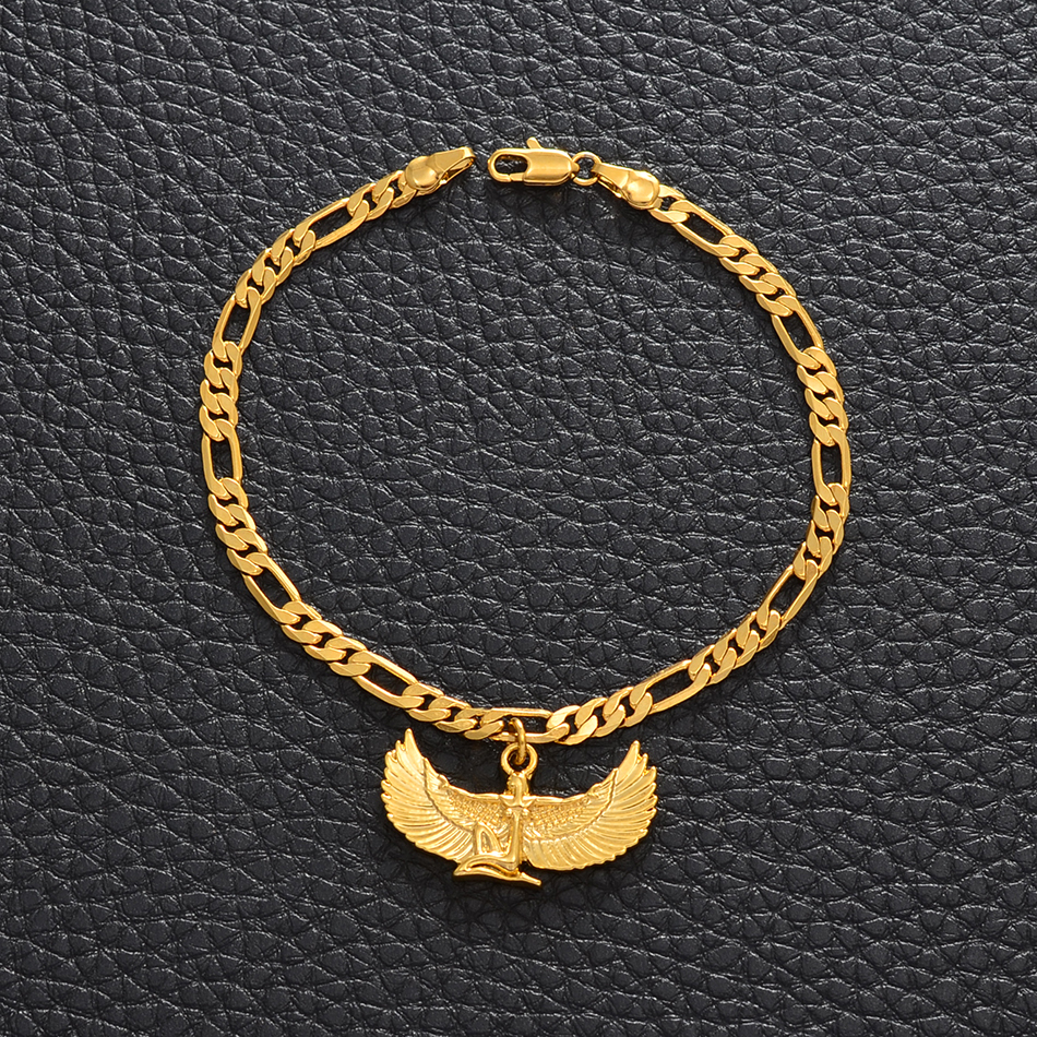 Anniyo Fab Egyptian Goddess Anklets Gold Color Wing Foot Chain Ankh Bib Wicca Pagan Jewelry Egypt Religion #235606