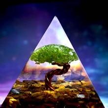 Handmade Tree of Life Orgone Pyramid 60mm Peridot With Tiger Eye Crystal stone, Orgone Accumulator, EMF Orgonite Energy Chakra